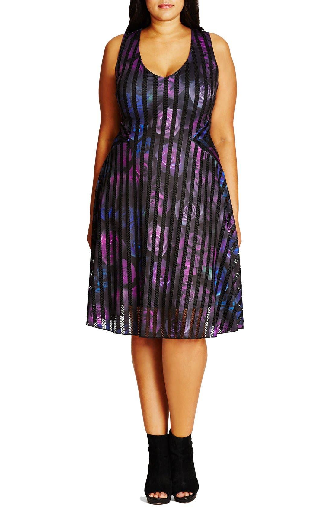 Main Image - City Chic Rose Garden Fit & Flare Dress (Plus Size)