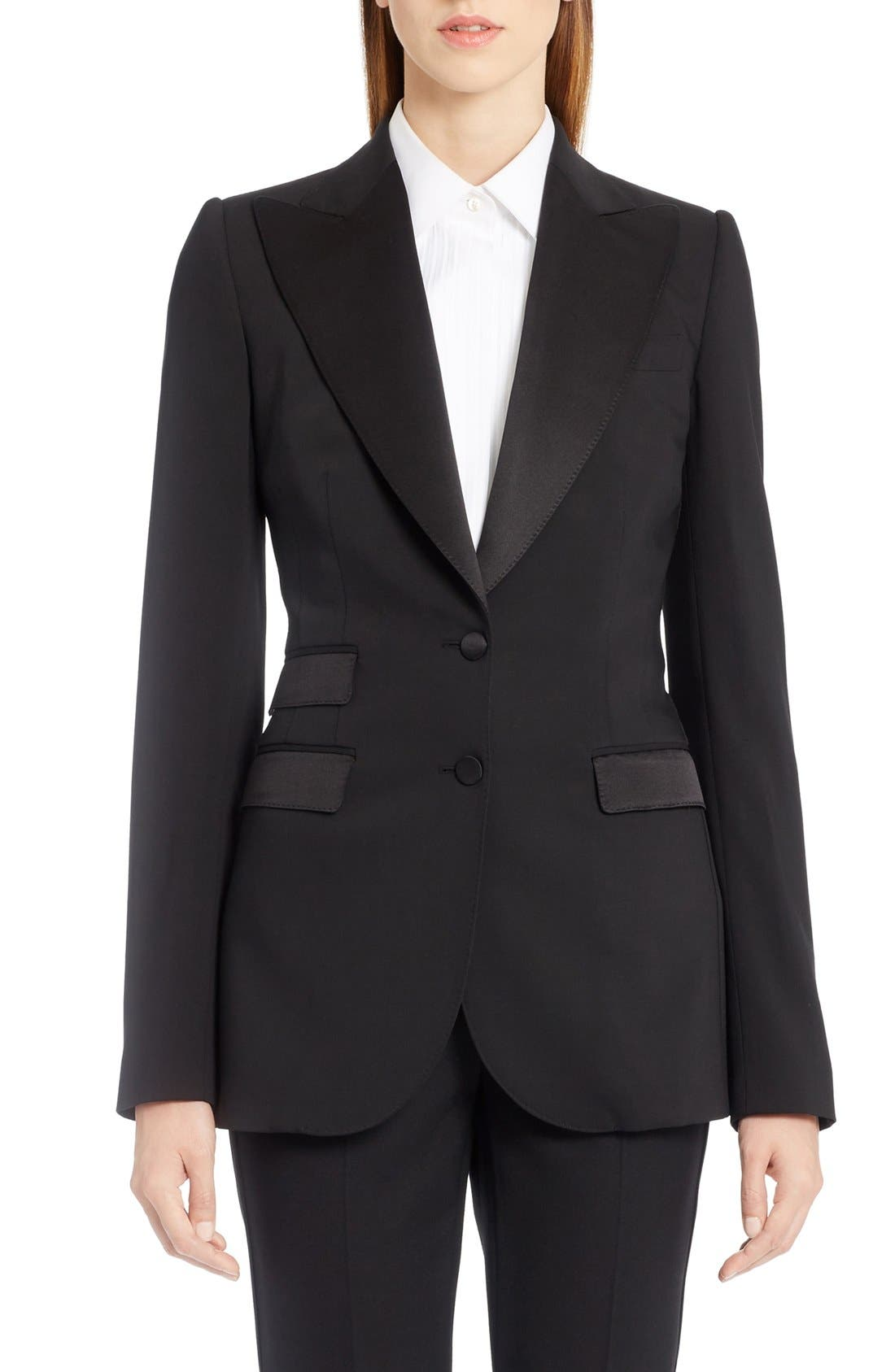 DOLCE&GABBANA Wool Blend Crepe Tuxedo Jacket