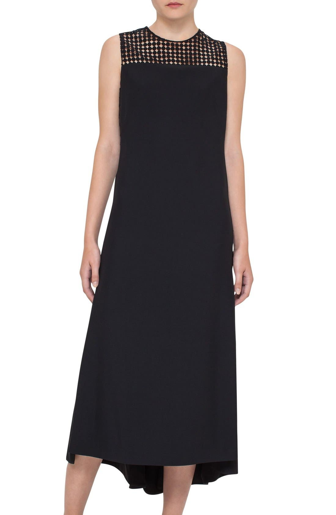 AKRIS PUNTO Dot Mesh Inset Midi Dress