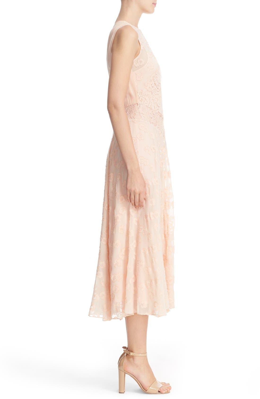 Alternate Image 3  - Rebecca Taylor Chevron Lace Midi Dress
