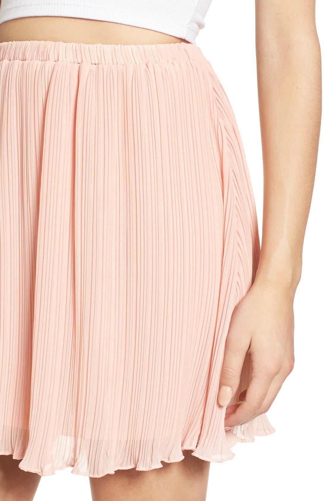 Alternate Image 5  - Lush Pleated Chiffon Miniskirt
