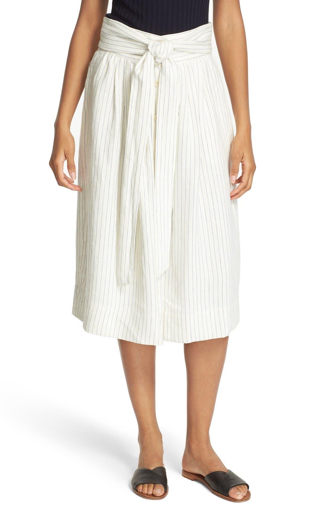 SEA Stripe Tie Waist Linen Skirt