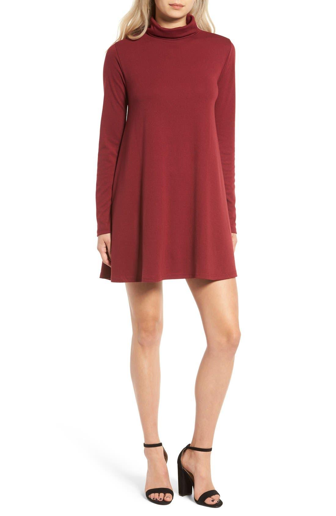 Main Image - Cotton Emporium Turtleneck Swing Dress