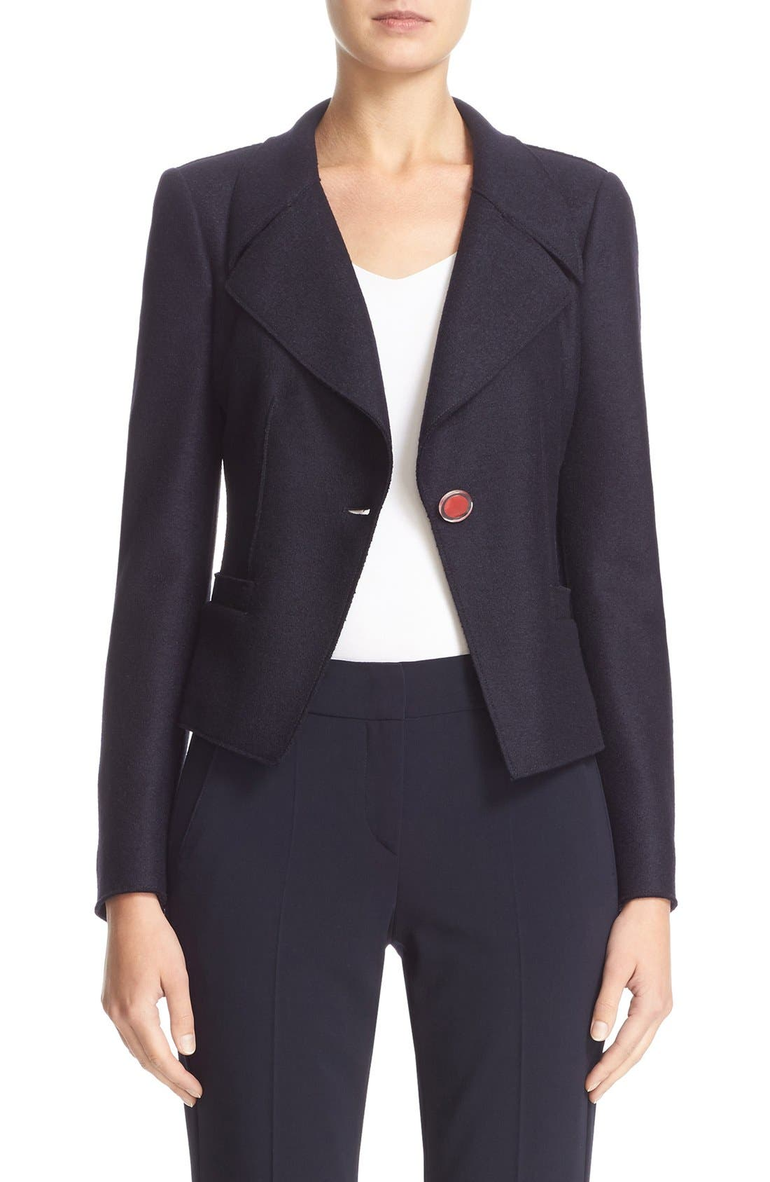 ARMANI COLLEZIONI Boiled Wool One-Button Jacket