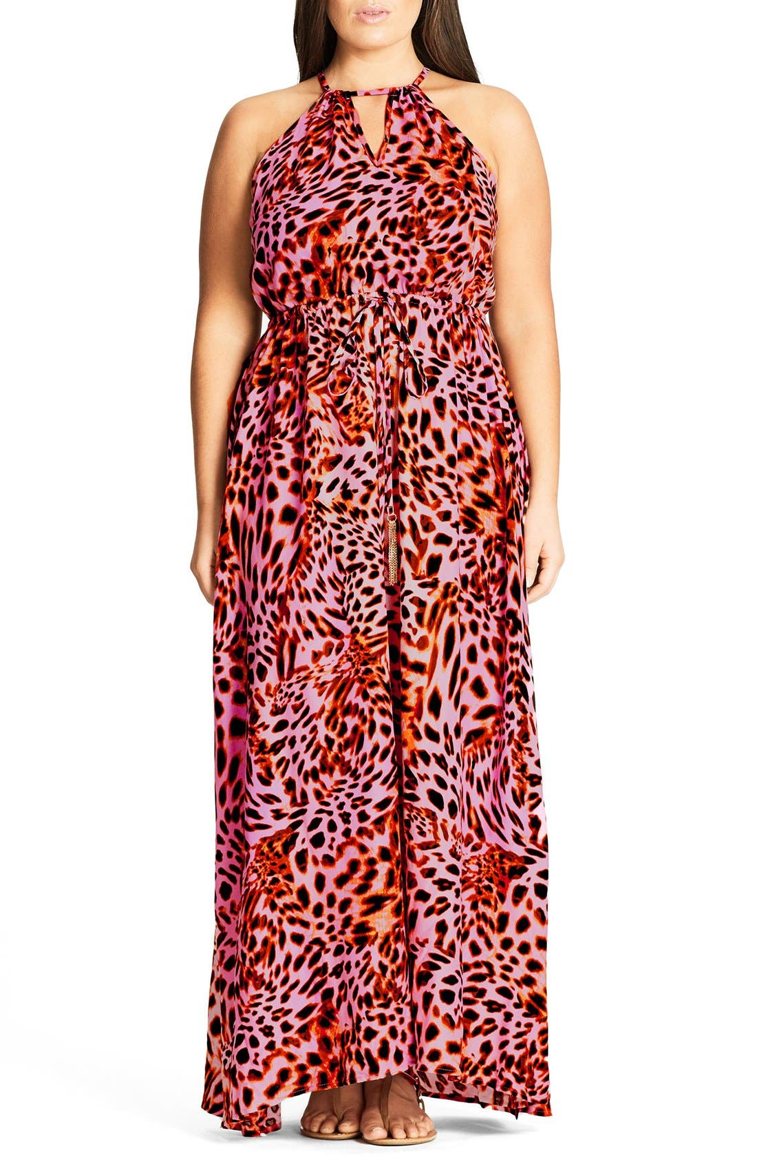 CITY CHIC Leopard Drawstring Waist Maxi Dress