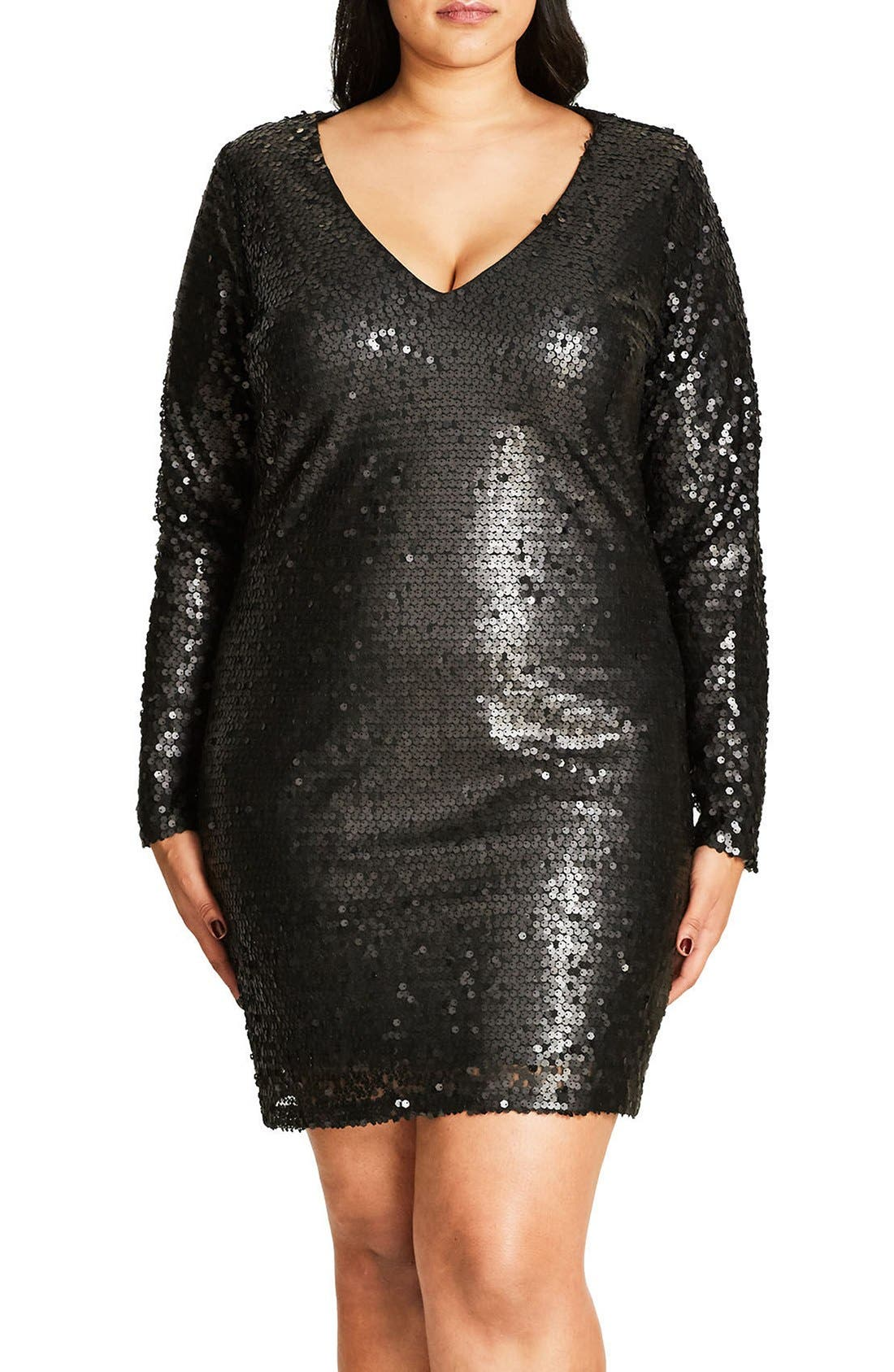 City Chic Party Time Embellished Shift Dress (Plus Size)