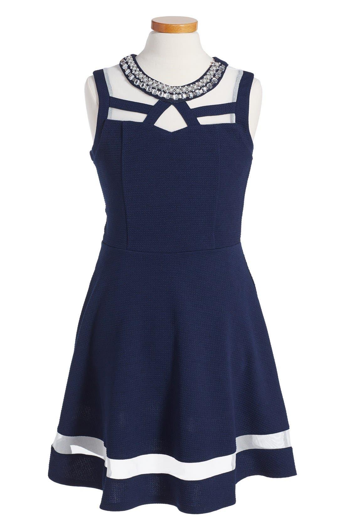 MONTEAU COUTURE Embellished Skater Dress