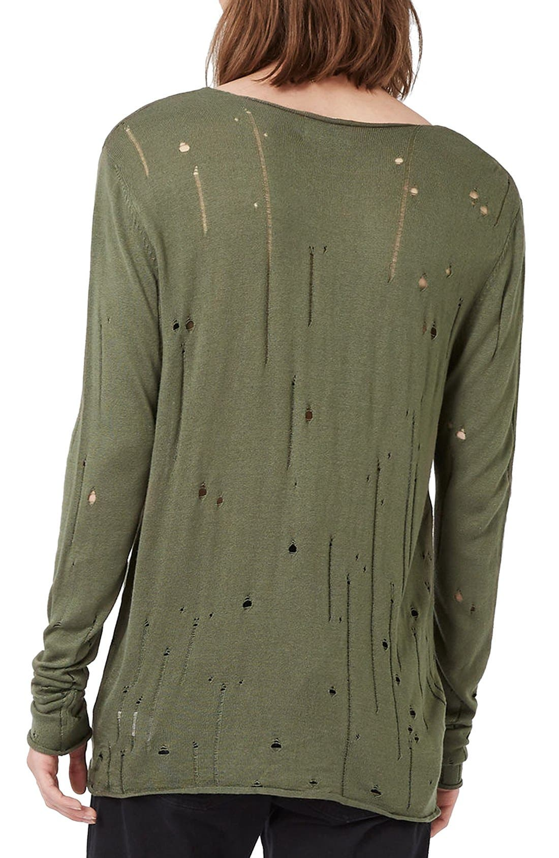 Alternate Image 3  - Topman Moth Distressed Long Sleeve Knit T-Shirt