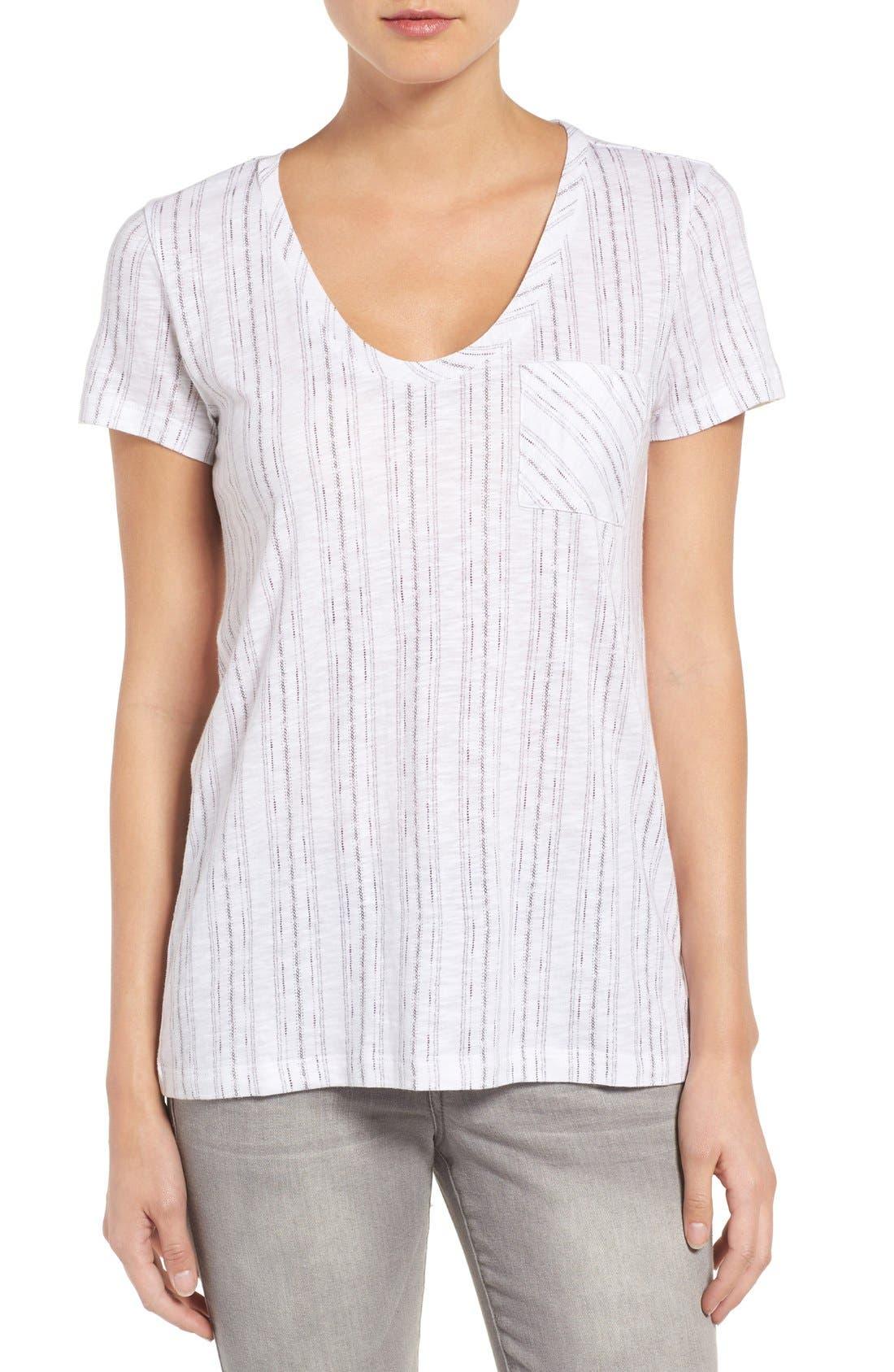 Alternate Image 1 Selected - Caslon® Relaxed Slub Knit U-Neck Tee (Regular & Petite)