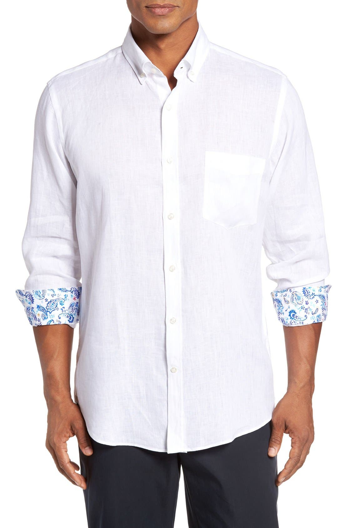 PAUL & SHARK Regular Fit Linen Sport Shirt