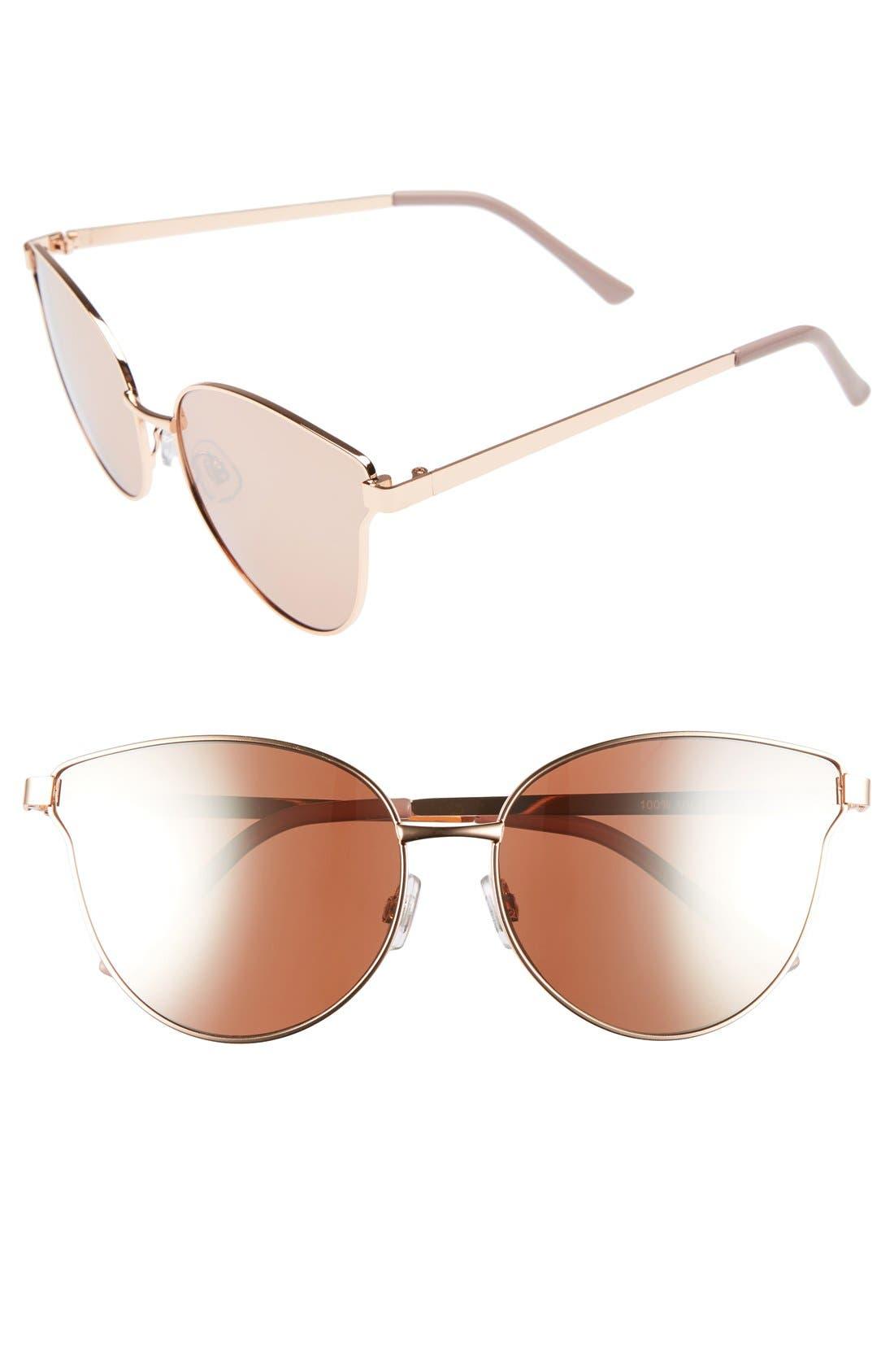 Main Image - BP. 57mm Mirrored Metal Cat Eye Sunglasses