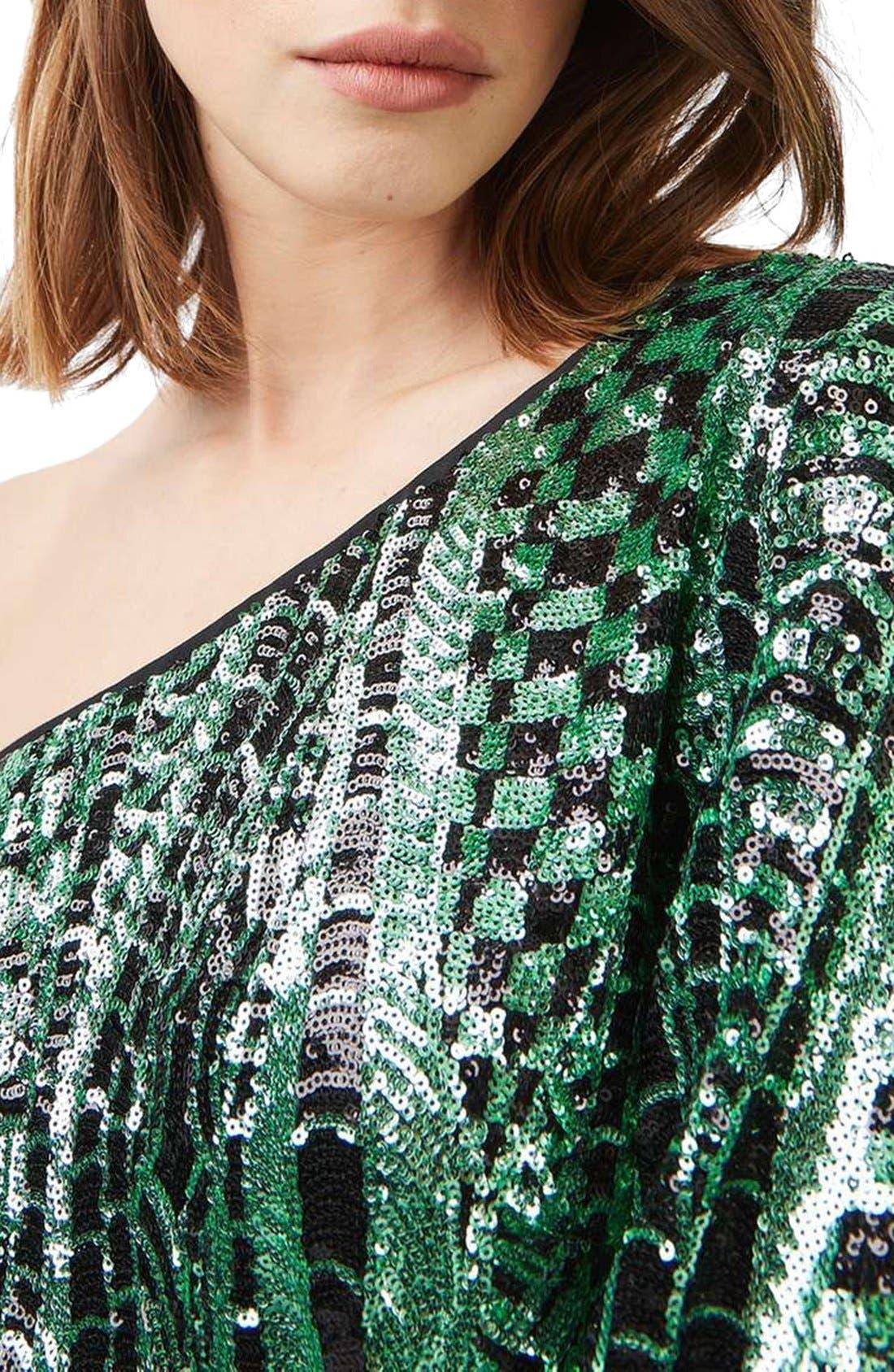 Alternate Image 5  - Topshop One Shoulder Sequin Dress
