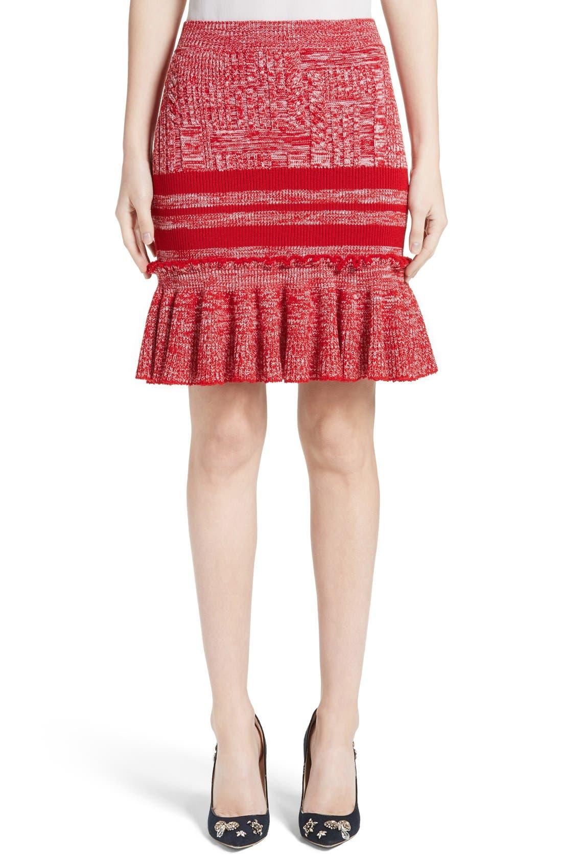ALEXANDER MCQUEEN Knit Tweed Ruffle Skirt