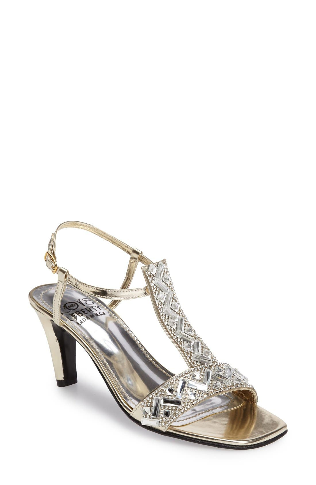 LOVE AND LIBERTY Crystal Embellished T-Strap Sandal