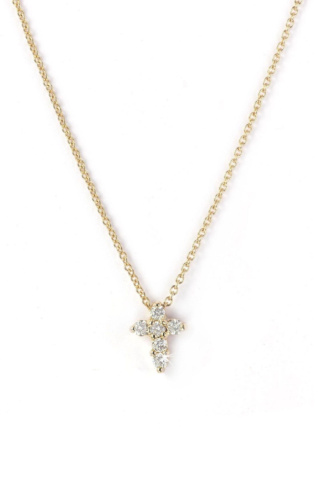 Roberto Coin 'Tiny Treasures' Diamond Cross Pendant Necklace