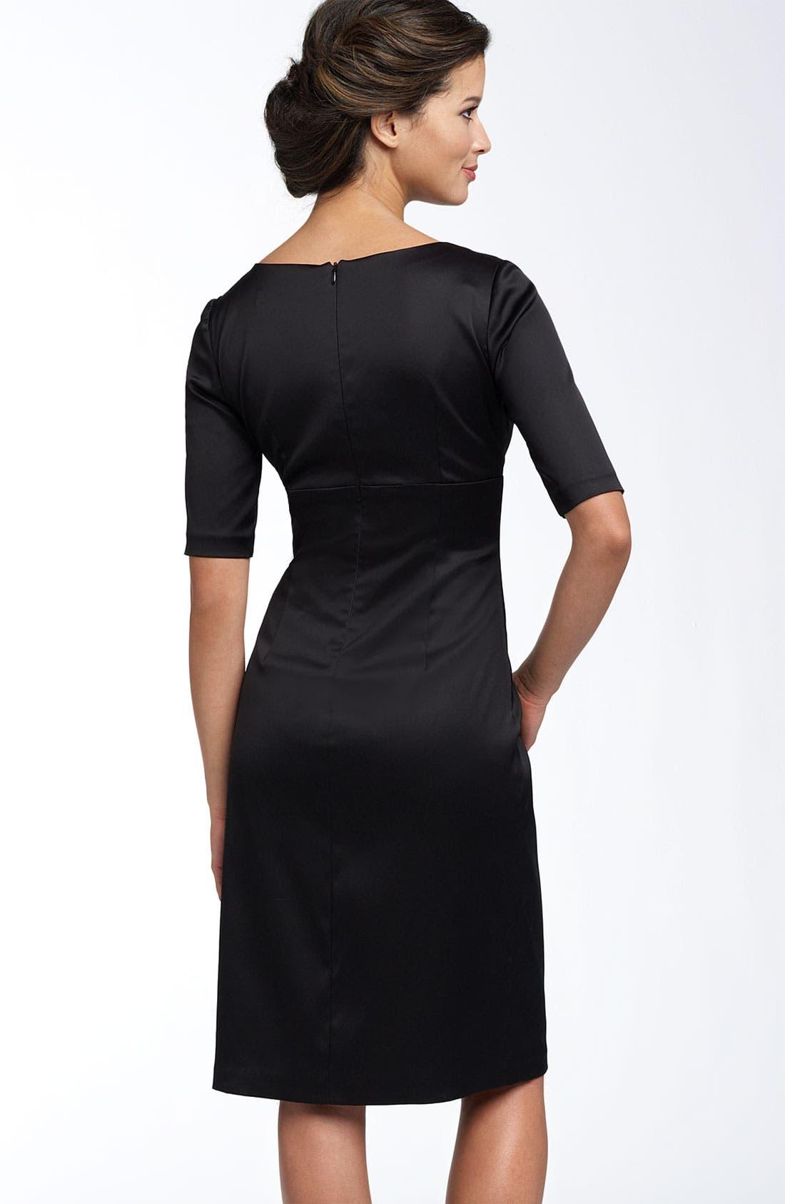Alternate Image 2  - Donna Ricco Ruched Empire Stretch Satin Dress
