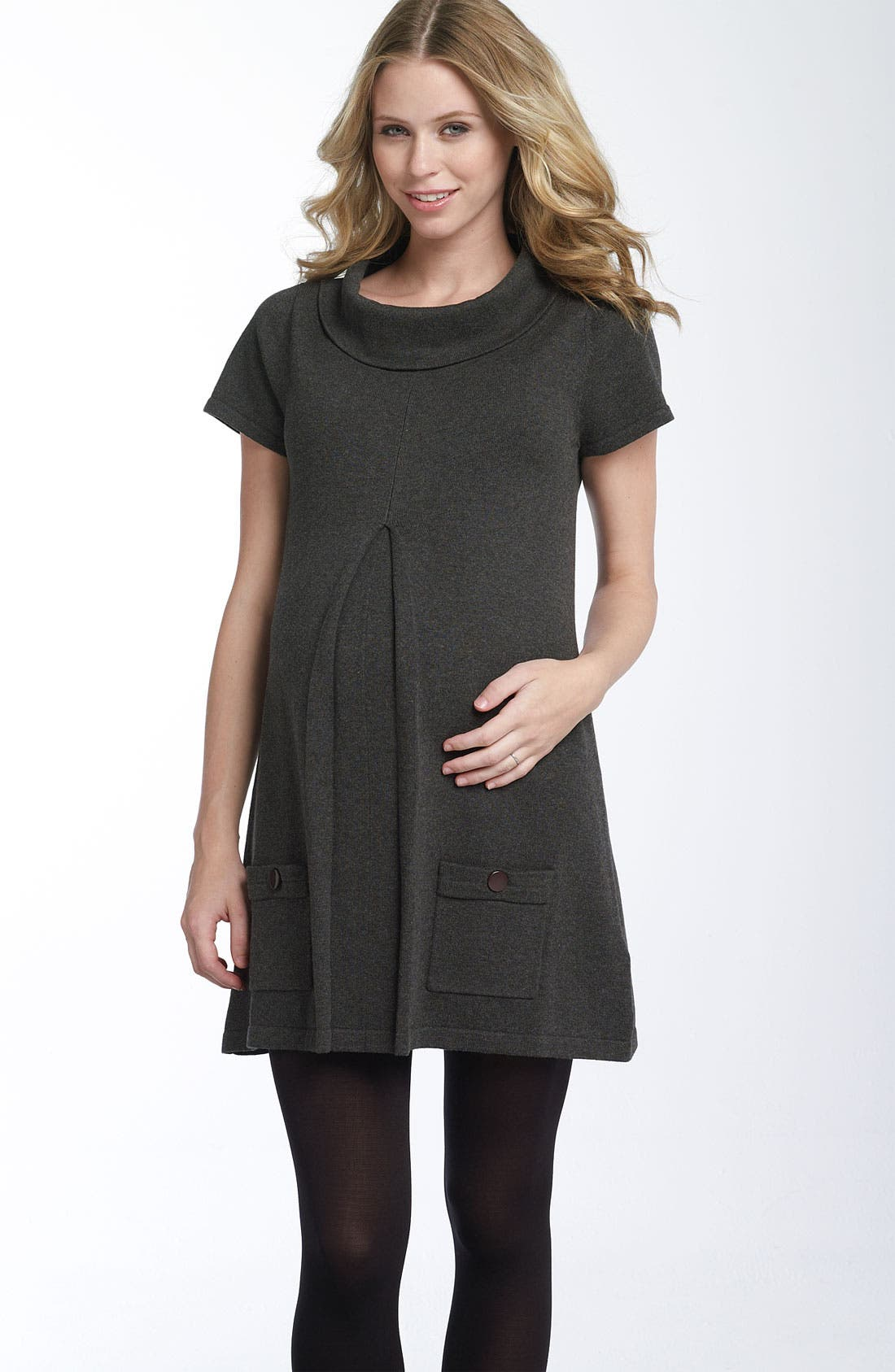 Main Image - Ripe Maternity 'Jacob' Pleat Front Tunic Dress