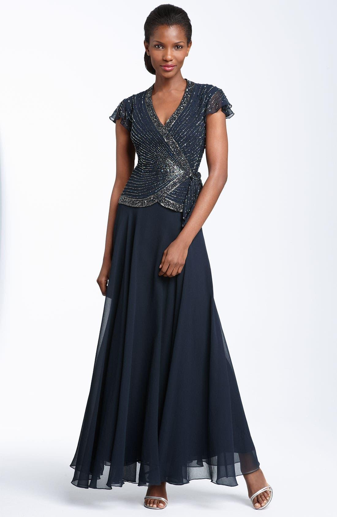 Main Image - J Kara Beaded Chiffon Gown (Regular & Petite)