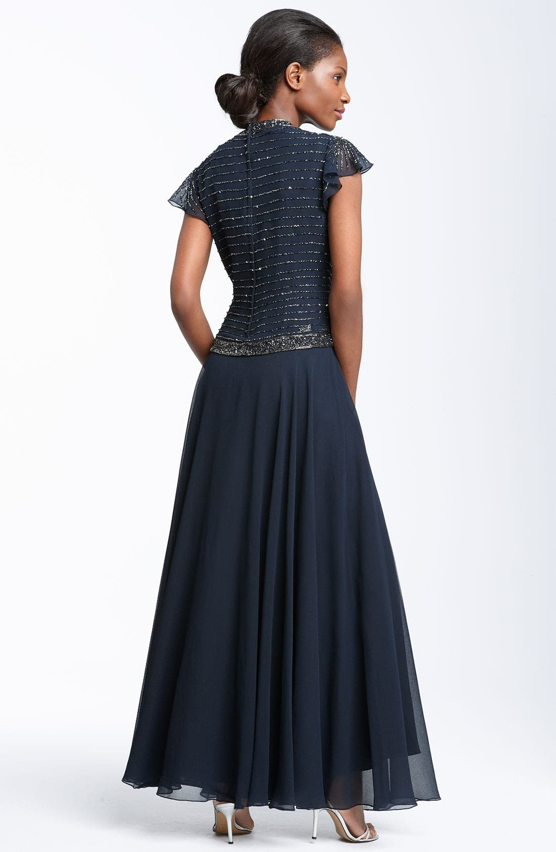 Alternate Image 2  - J Kara Beaded Chiffon Gown (Regular & Petite)