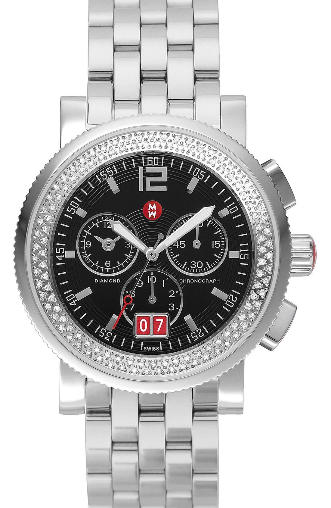 Alternate Image 2  - MICHELE 'Sport Sail - Large' Diamond Black Dial Watch Case