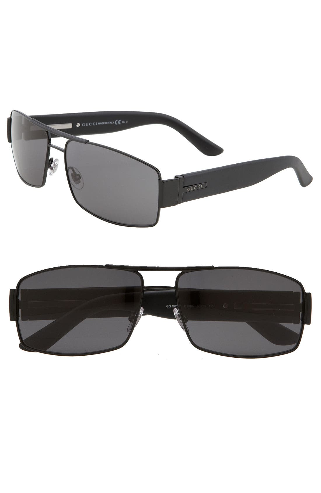 Alternate Image 1 Selected - Gucci 60mm Stainless Steel Sunglasses