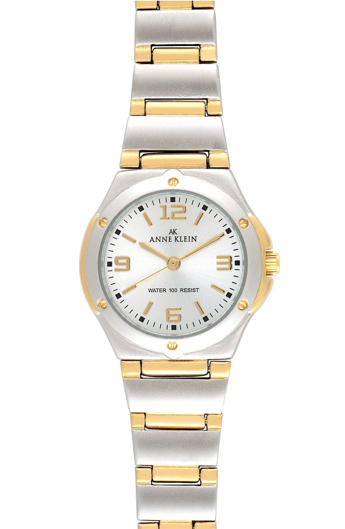 Alternate Image 1 Selected - Anne Klein Silver Dial Bracelet Watch, 25mm