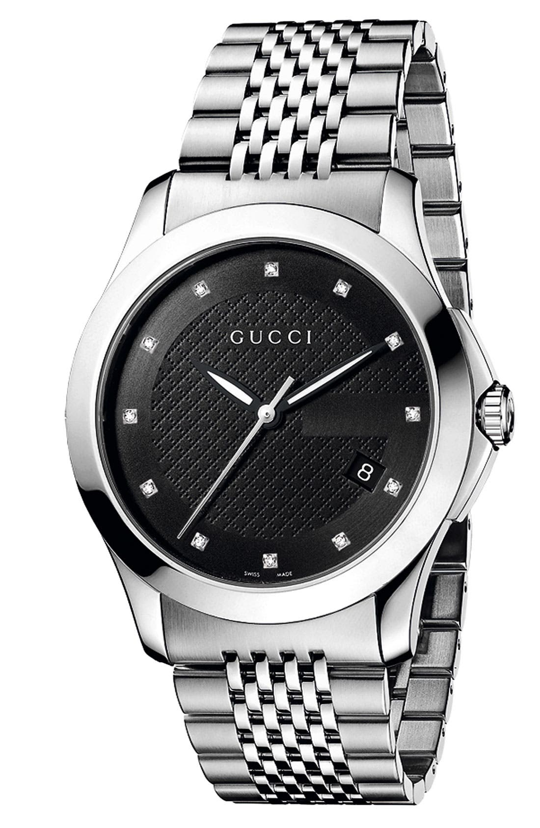 Alternate Image 1 Selected - Gucci 'G Timeless' Diamond Dial Bracelet Watch