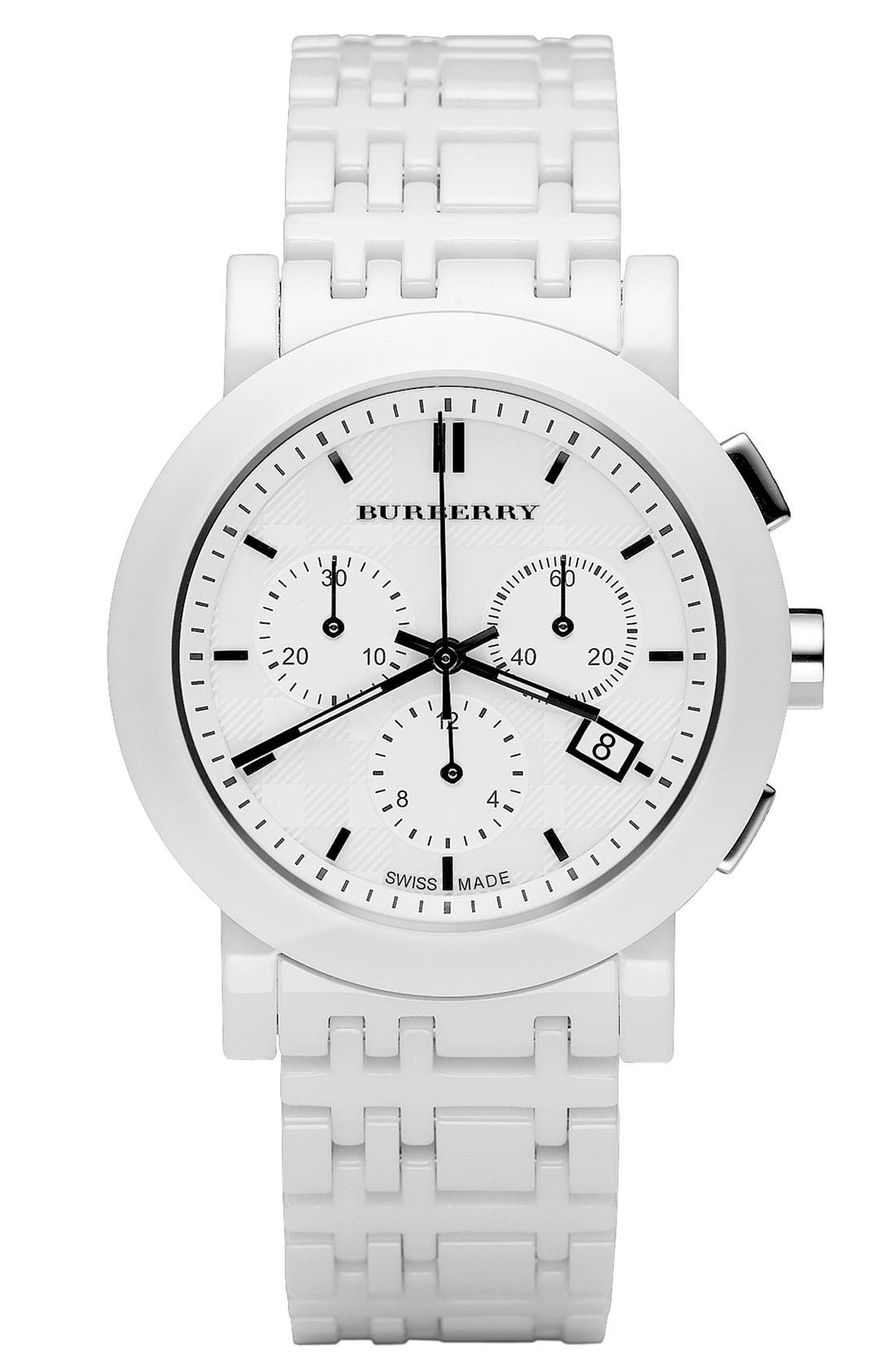 Alternate Image 1 Selected - Burberry Large Ceramic Chronograph Watch