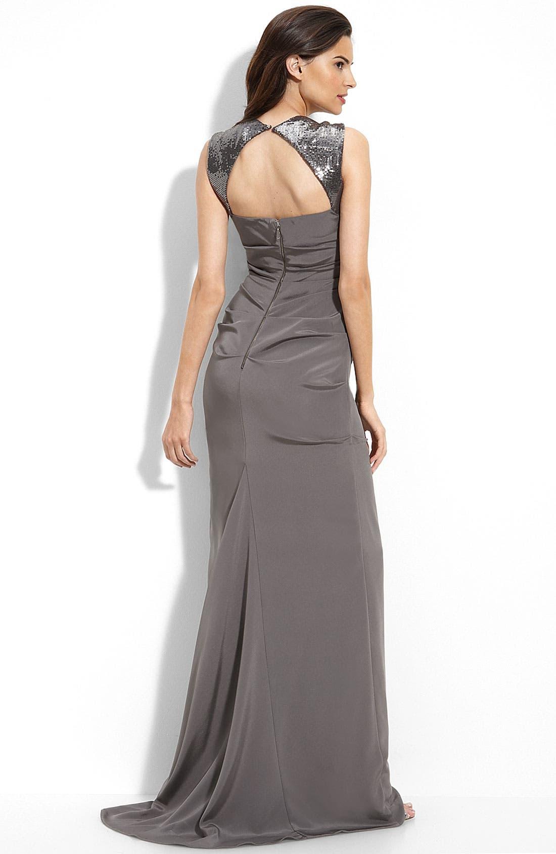 Alternate Image 2  - Nicole Miller Sequin Trim Stretch Silk Gown