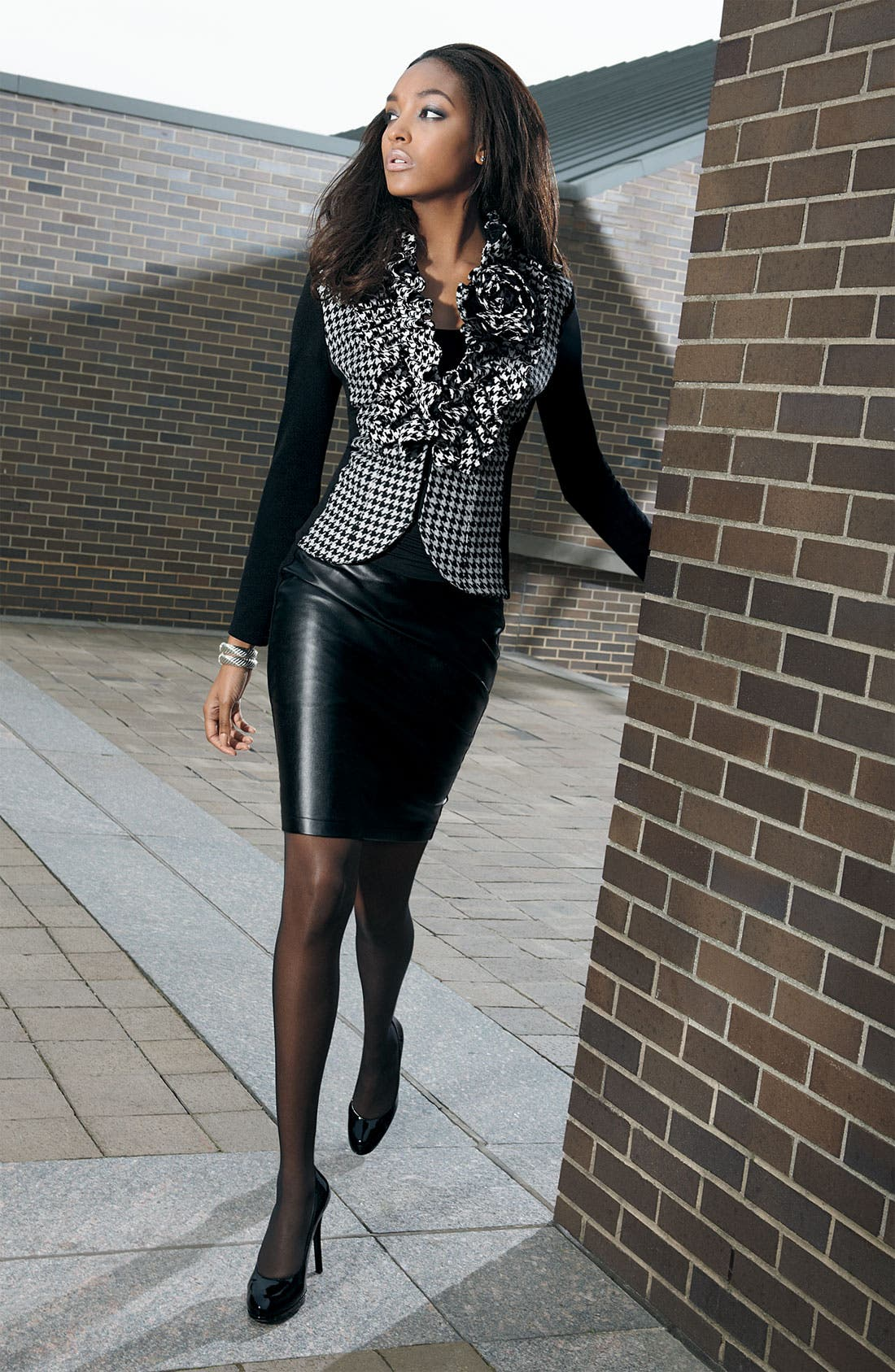 Alternate Image 3  - Alberto Makali Knit & Faux Leather Pencil Skirt