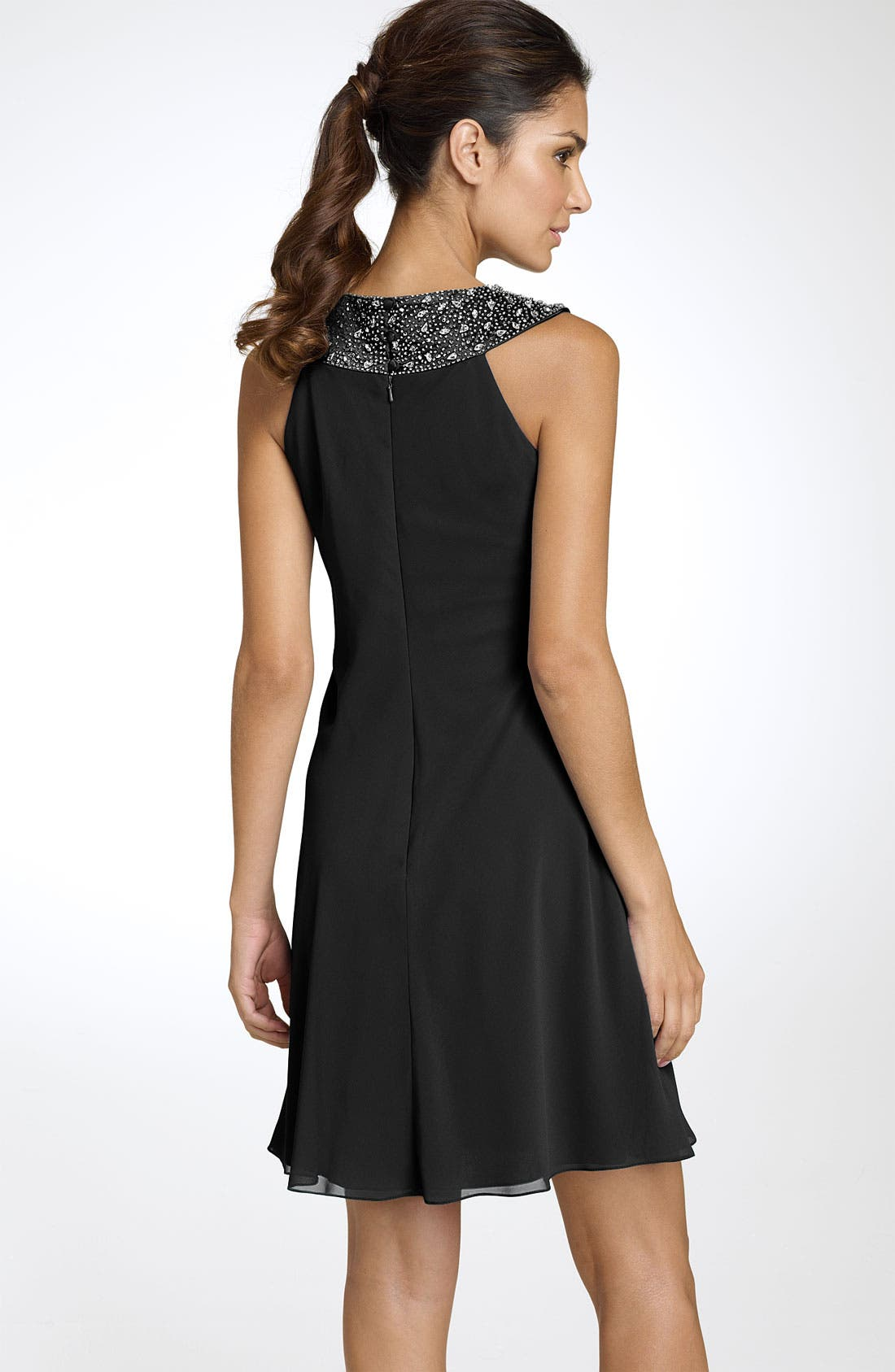 Alternate Image 2  - JS Boutique Beaded Chiffon Trapeze Dress