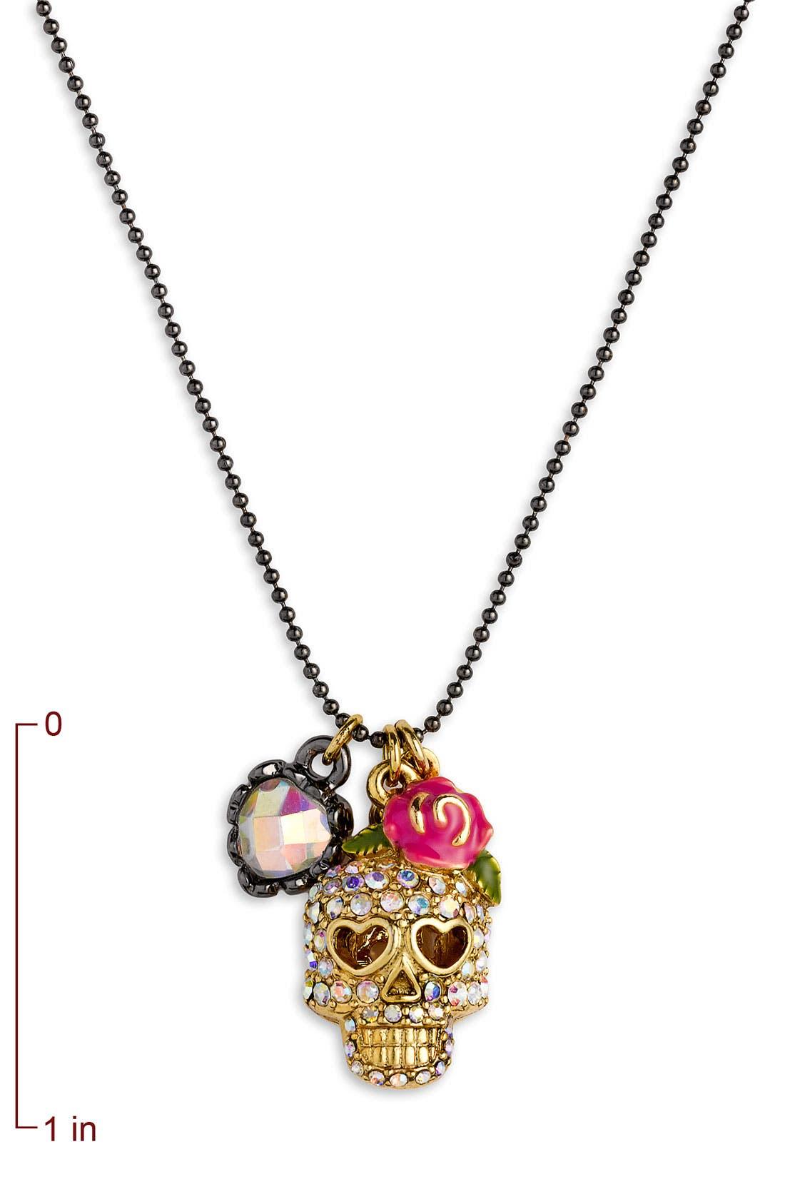 Alternate Image 2  - Betsey Johnson 'Skull Charm' Necklace