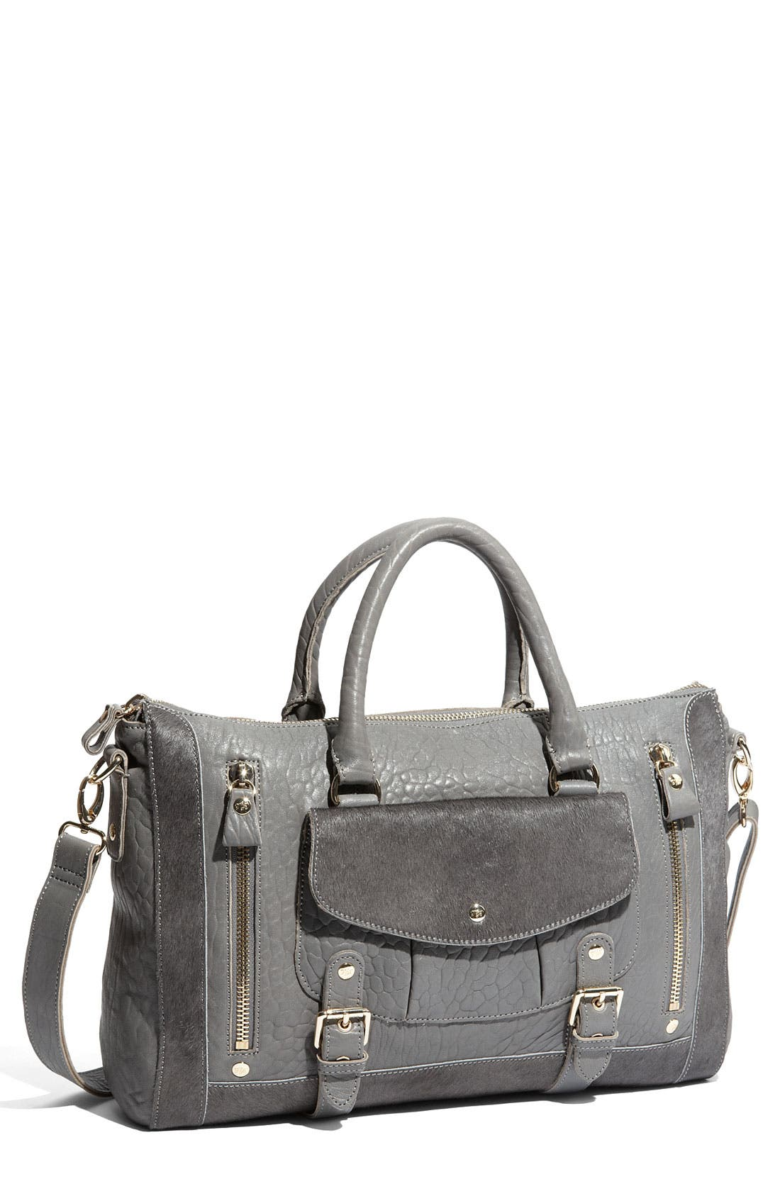 Main Image - Ted Baker London 'Buckle Pocket' Leather & Calf Hair Weekend Bag