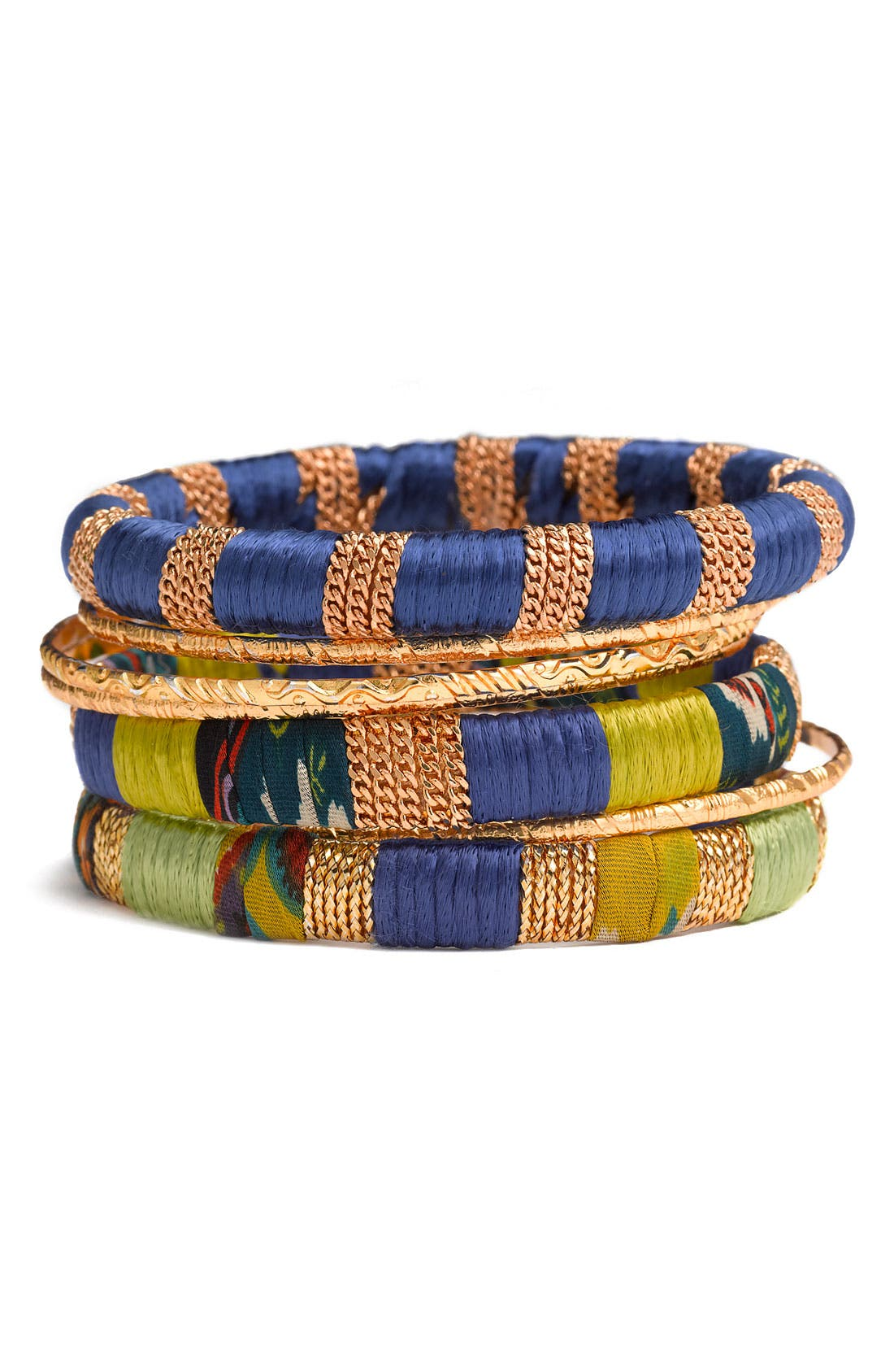 Alternate Image 1 Selected - Cara Accessories Mixed Media Bangles (Set of 7)