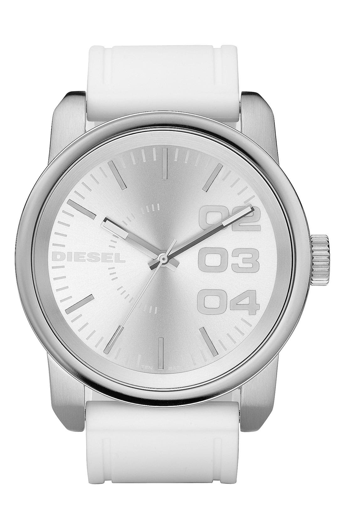 Alternate Image 1 Selected - DIESEL® 'Double Down' Round Silicone Strap Watch, 45mm