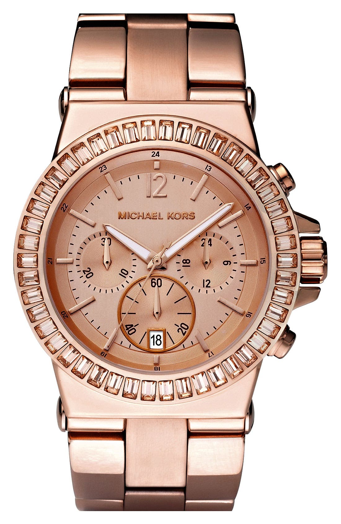 Main Image - Michael Kors 'Dylan' Crystal Bezel Chronograph Watch, 43mm