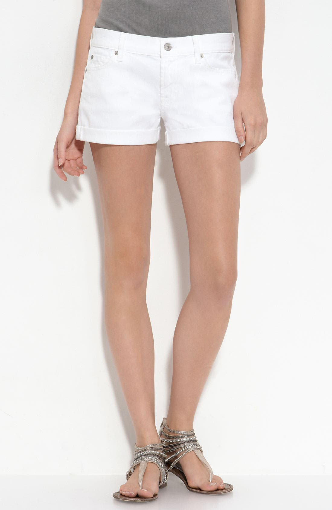 Alternate Image 2  - 7 For All Mankind® Rolled Cuff Shorts (Clean White Wash)