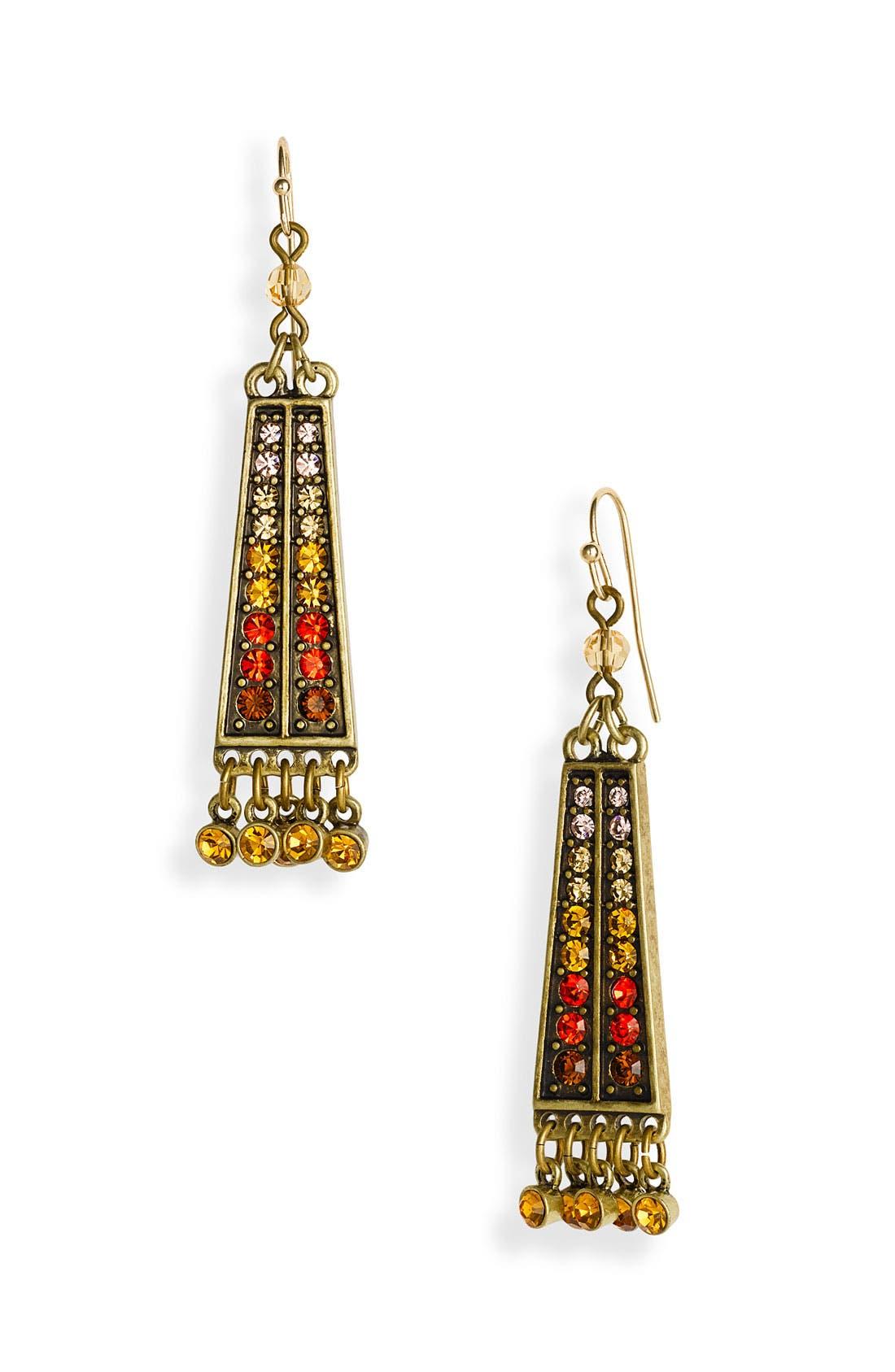 Alternate Image 1 Selected - Sequin Crystal Linear Drop Earrings
