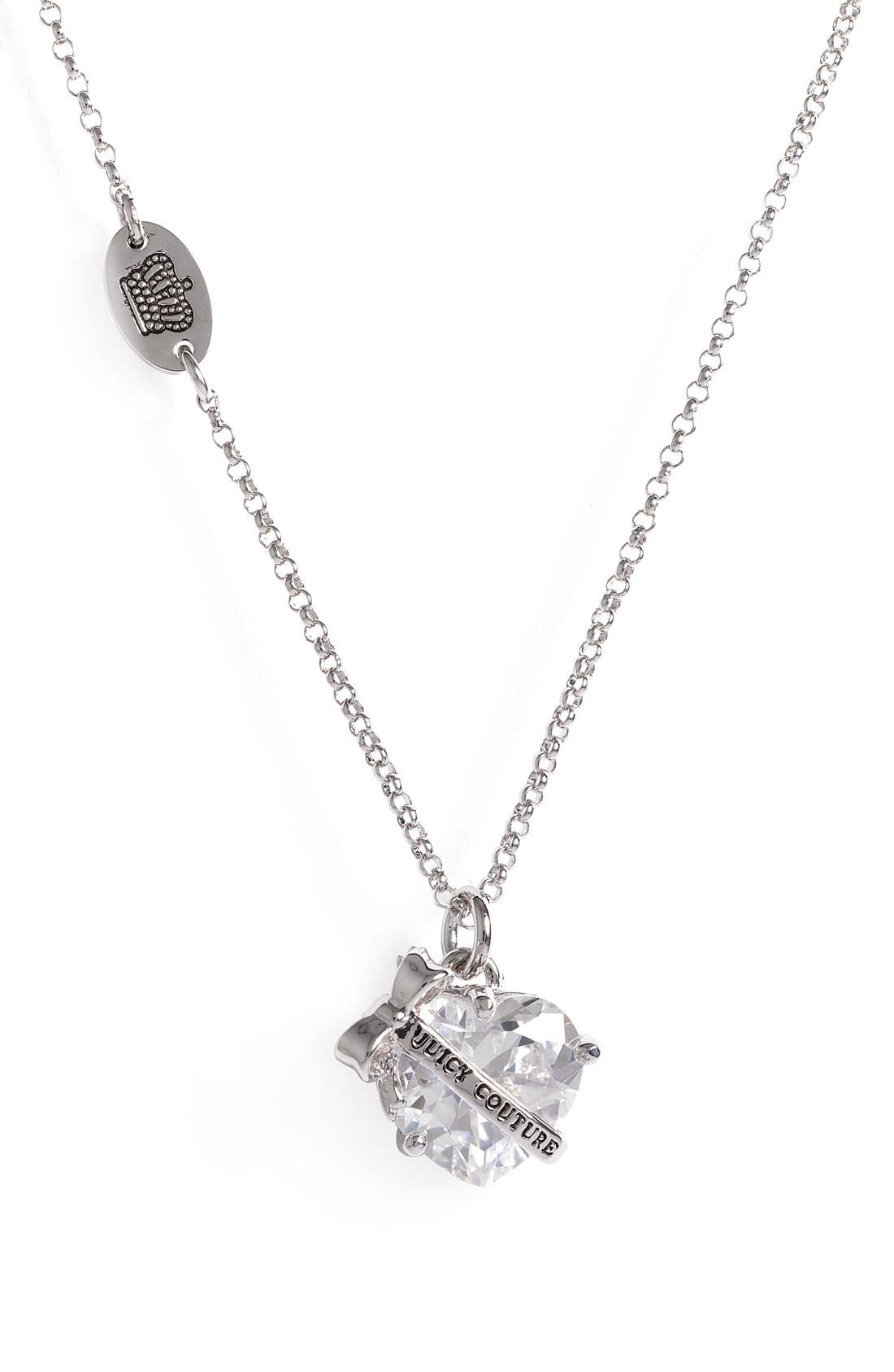 Main Image - Juicy Couture 'Wishes' Faceted Heart Pendant Necklace