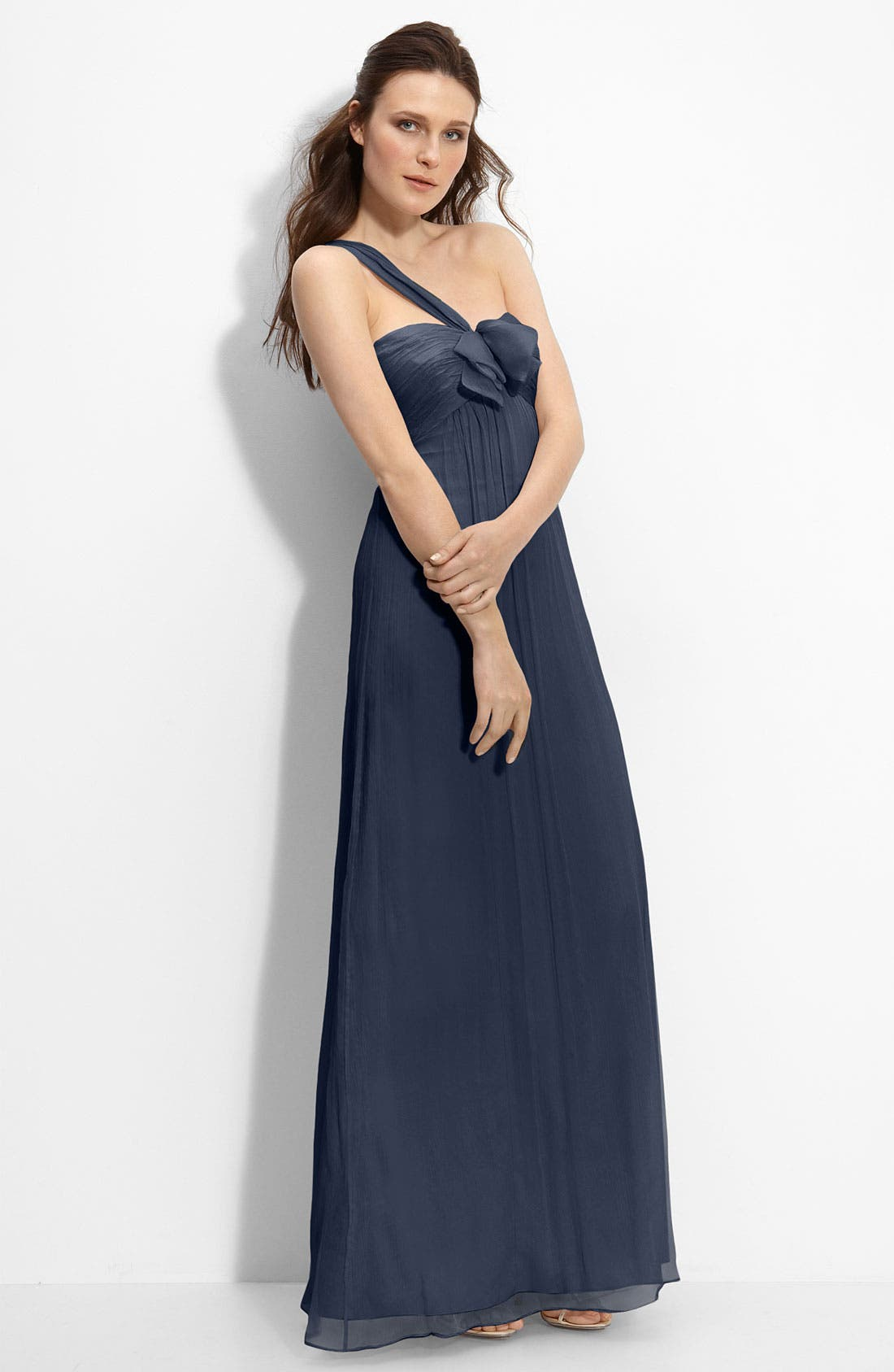 Main Image - Amsale Bow Front One Shoulder Chiffon Gown