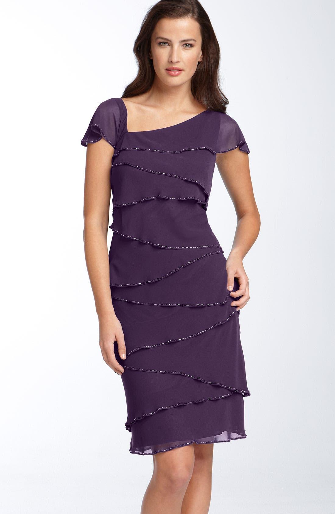 Main Image - Patra Asymmetrical Chiffon Sheath Dress