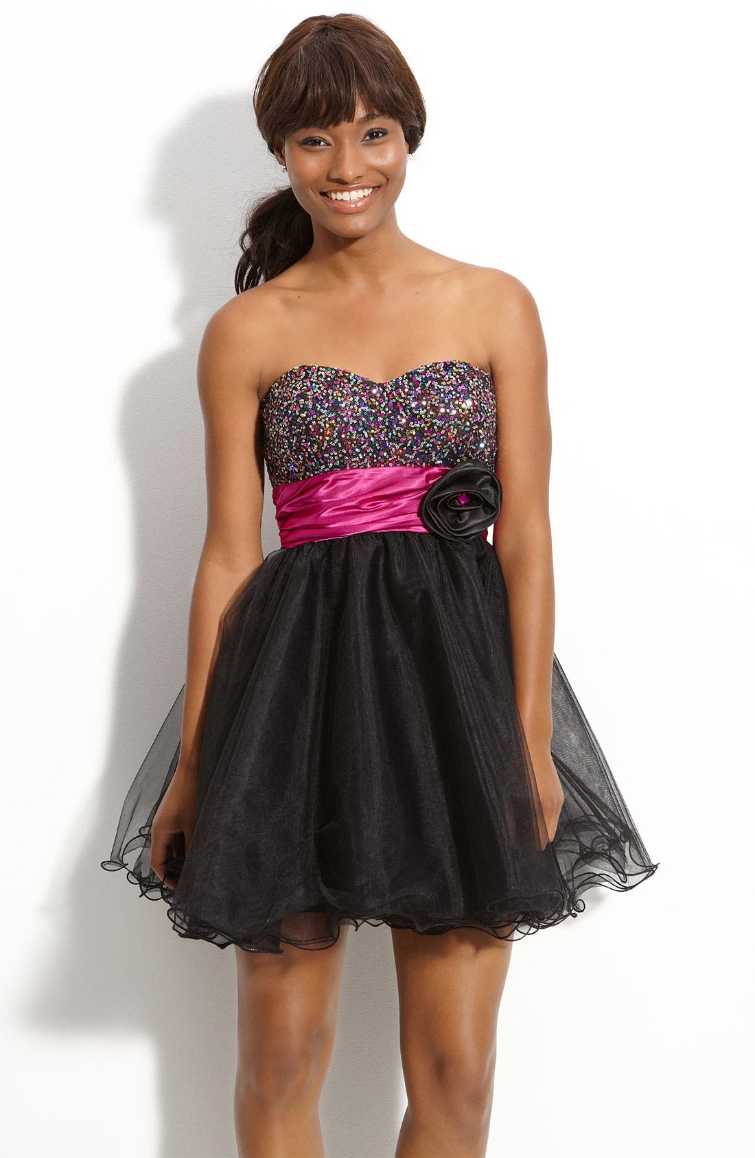 Main Image - Accidentally In Love Sequin Embellished Dress (Juniors)