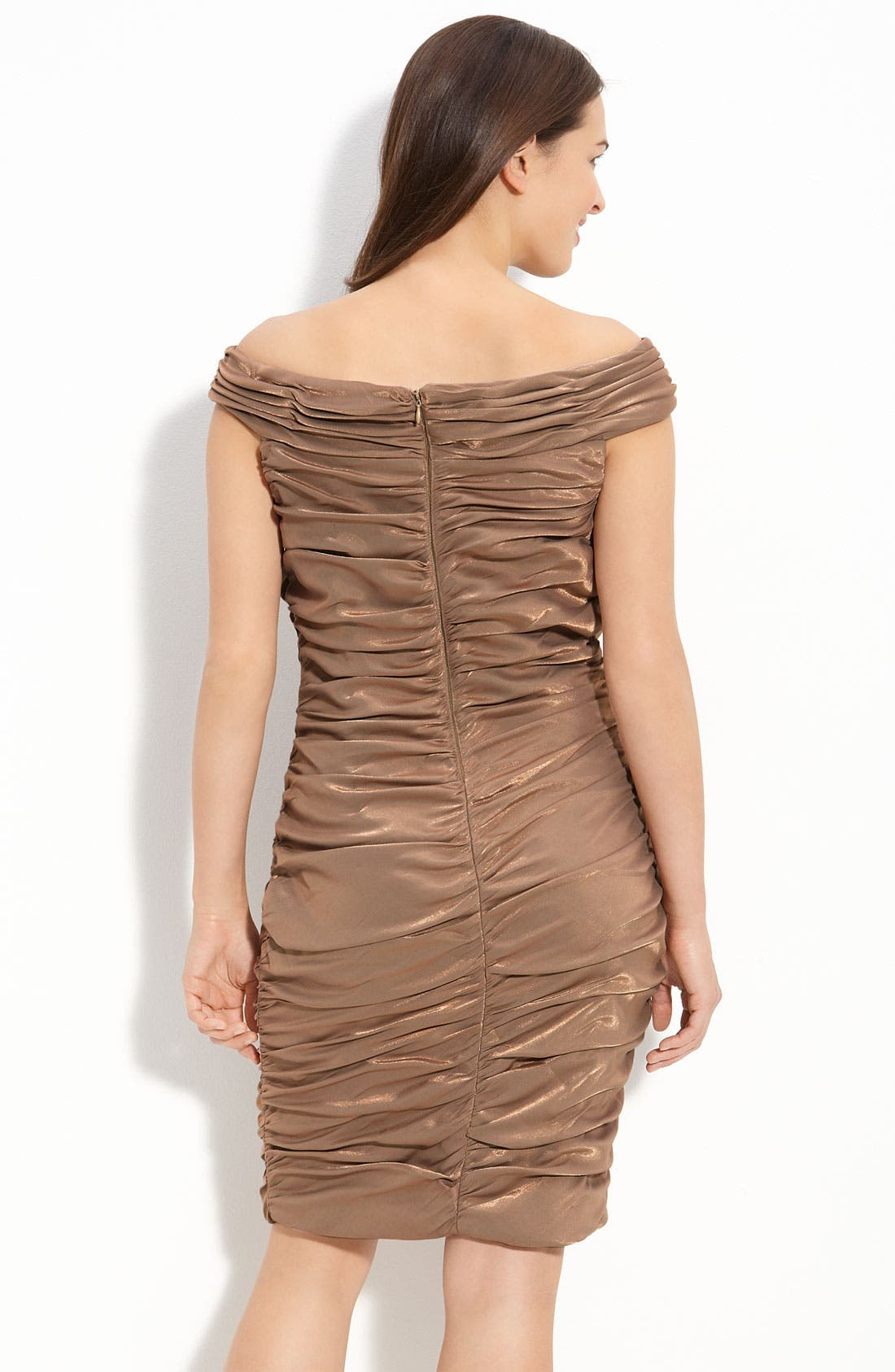 Alternate Image 2  - Cachet Ruched Satin Off Shoulder Sheath Dress