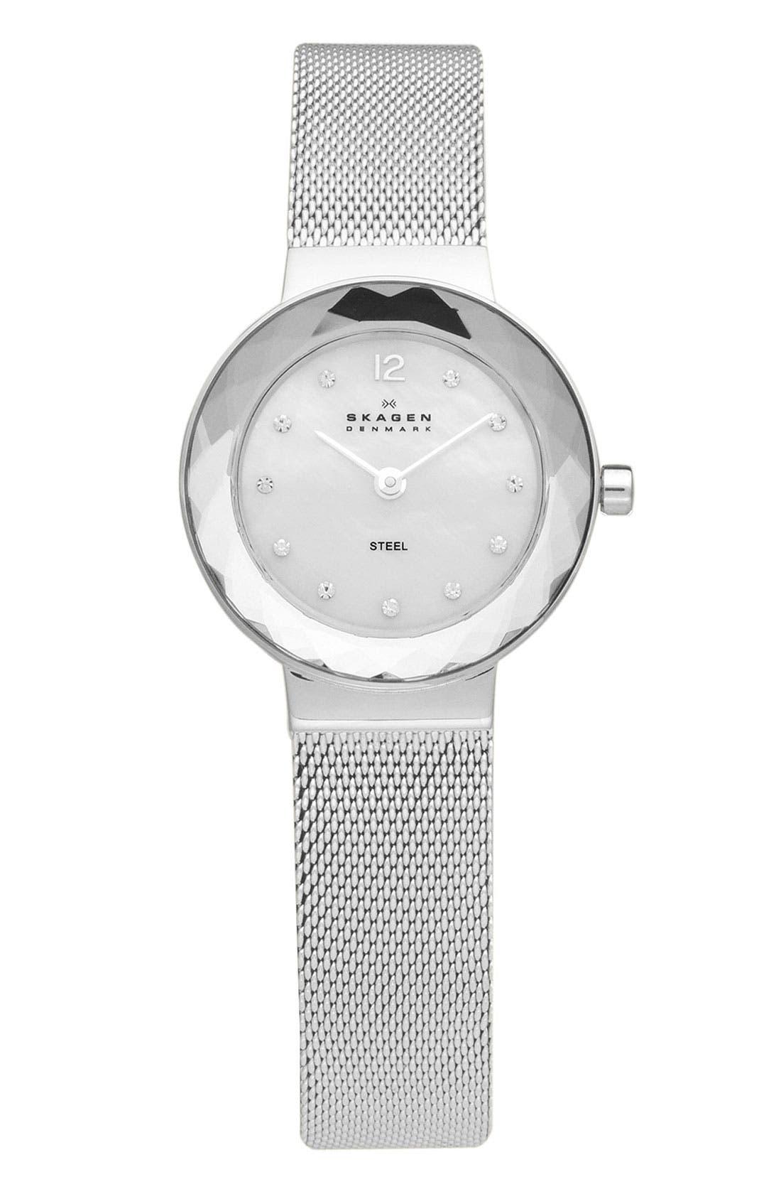 Alternate Image 1 Selected - Skagen 'Leonora' Faceted Glass Bezel Watch, 25mm