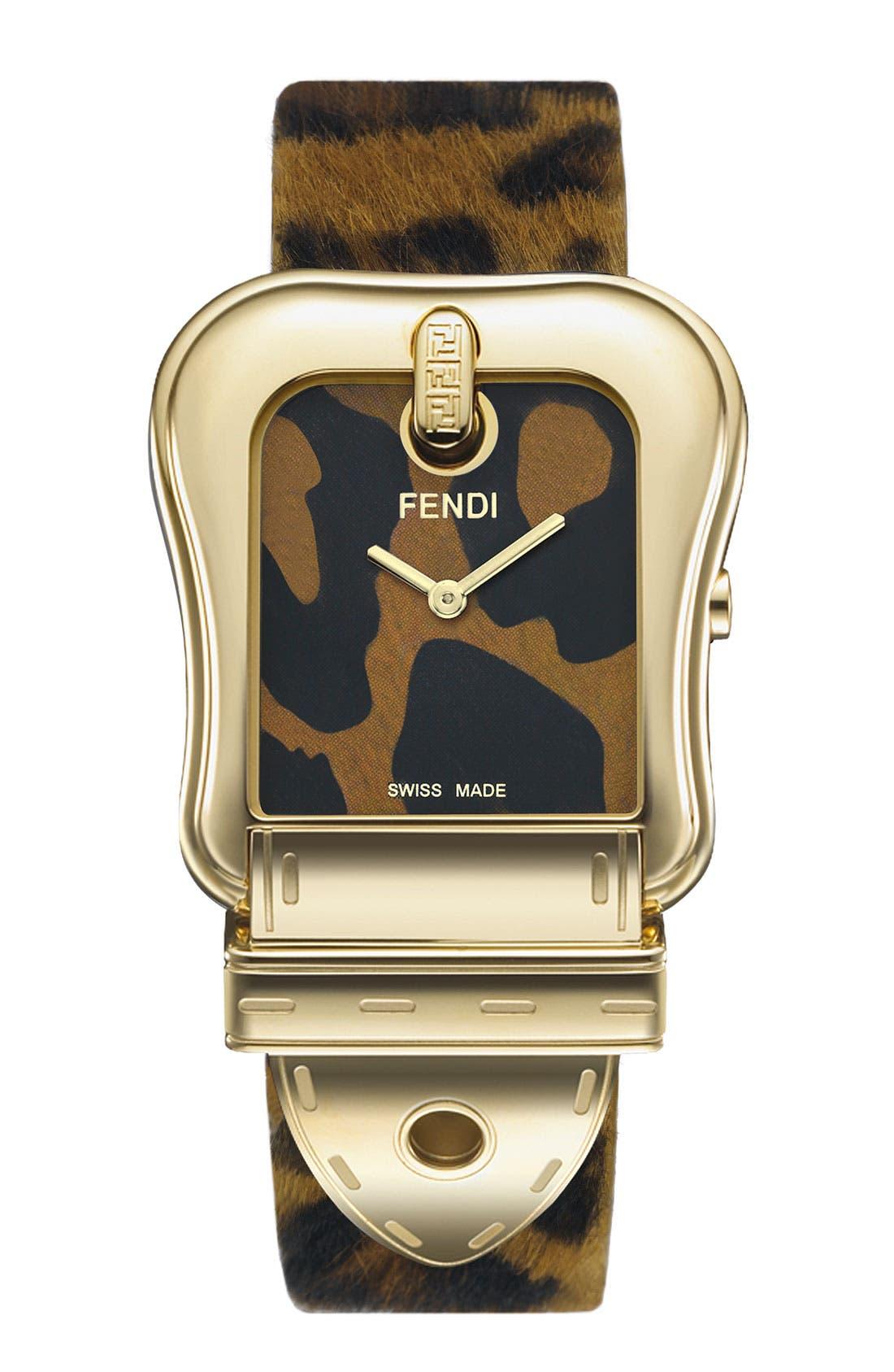 Alternate Image 1 Selected - Fendi 'B. Fendi' Large Animal Print Watch
