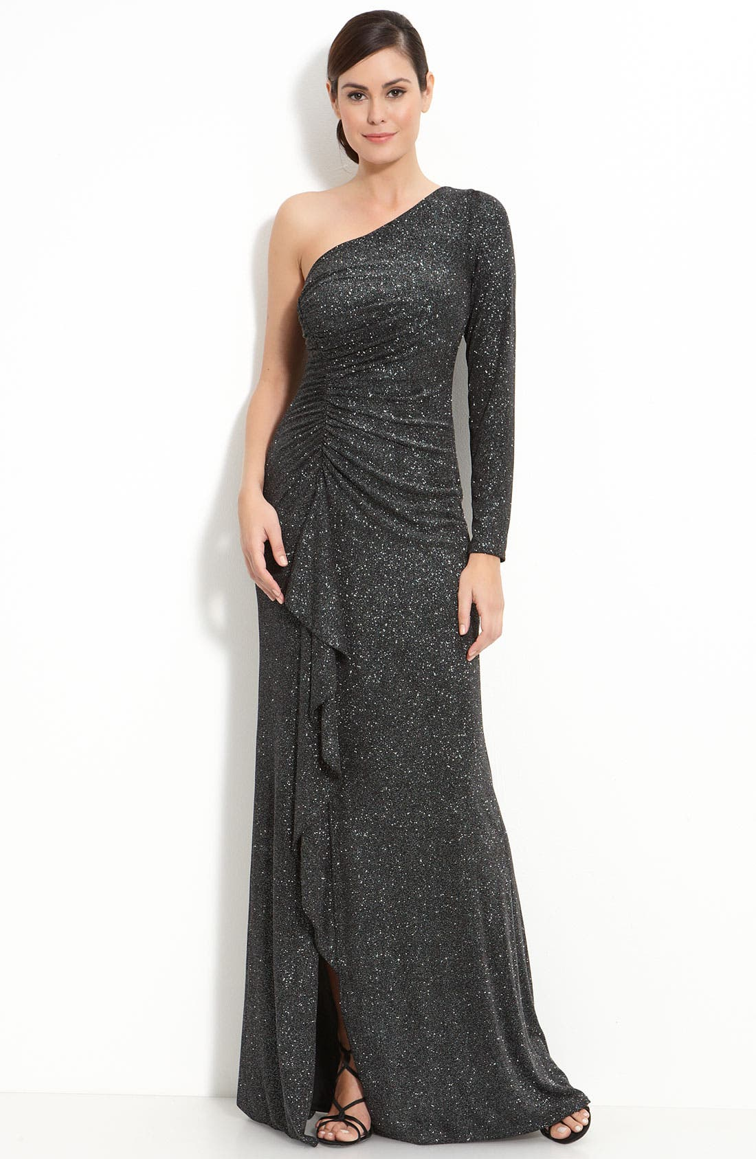 Alternate Image 1 Selected - David Meister Metallic Jersey One Shoulder Gown