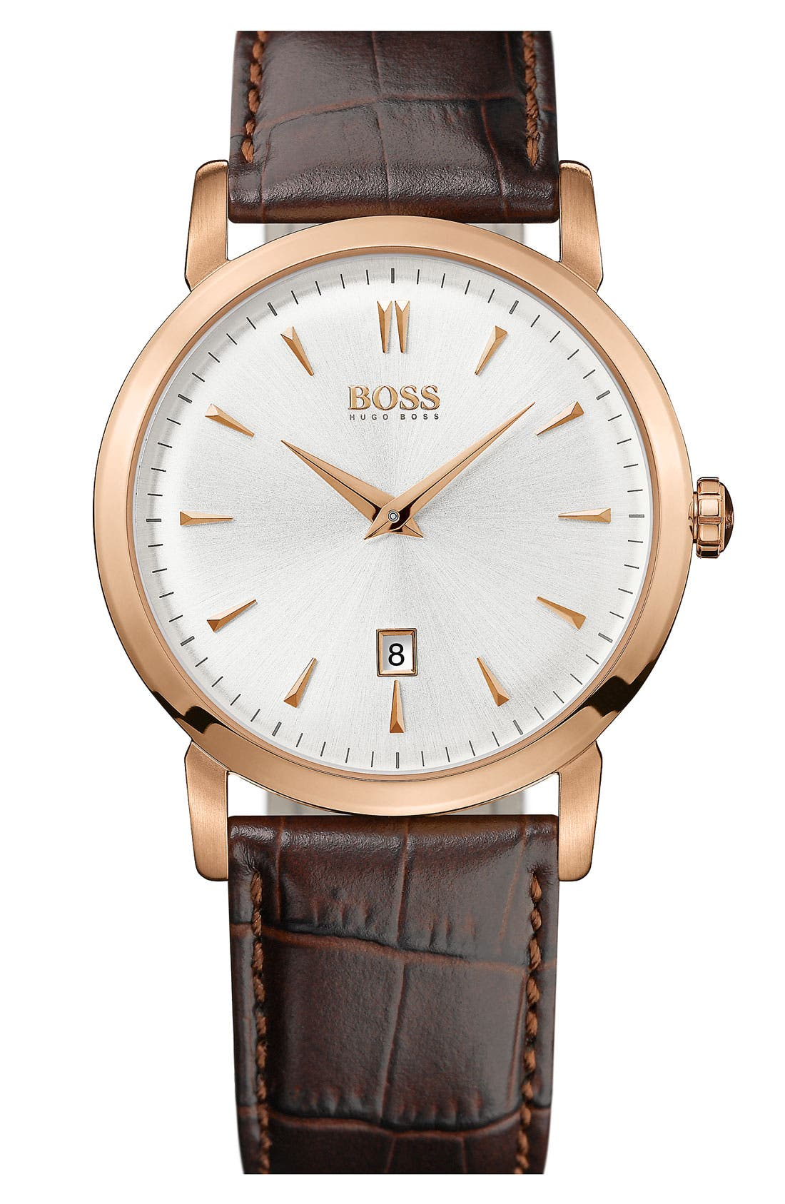 Main Image - BOSS Round Leather Strap Watch, 40mm