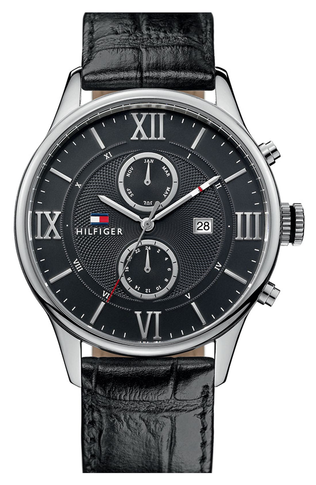 Alternate Image 1 Selected - Tommy Hilfiger Multi Eye Leather Strap Watch