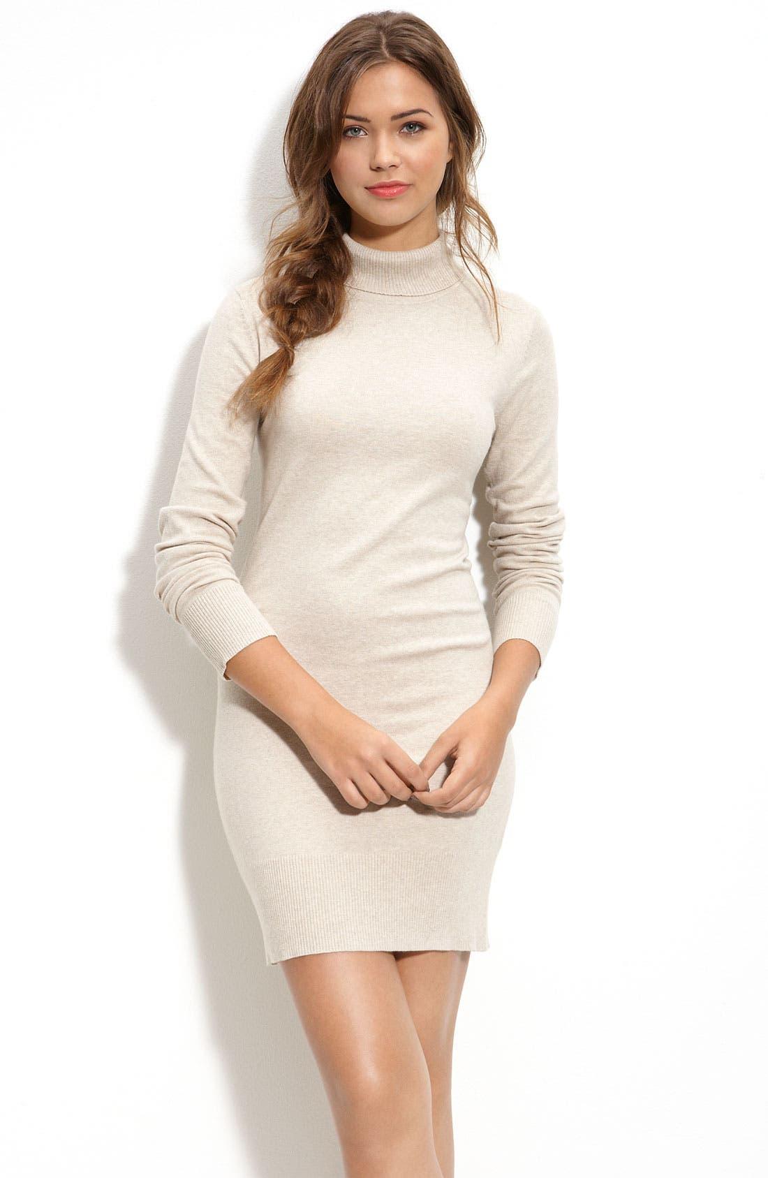 Alternate Image 1 Selected - Frenchi® Turtleneck Sweater Dress (Juniors)