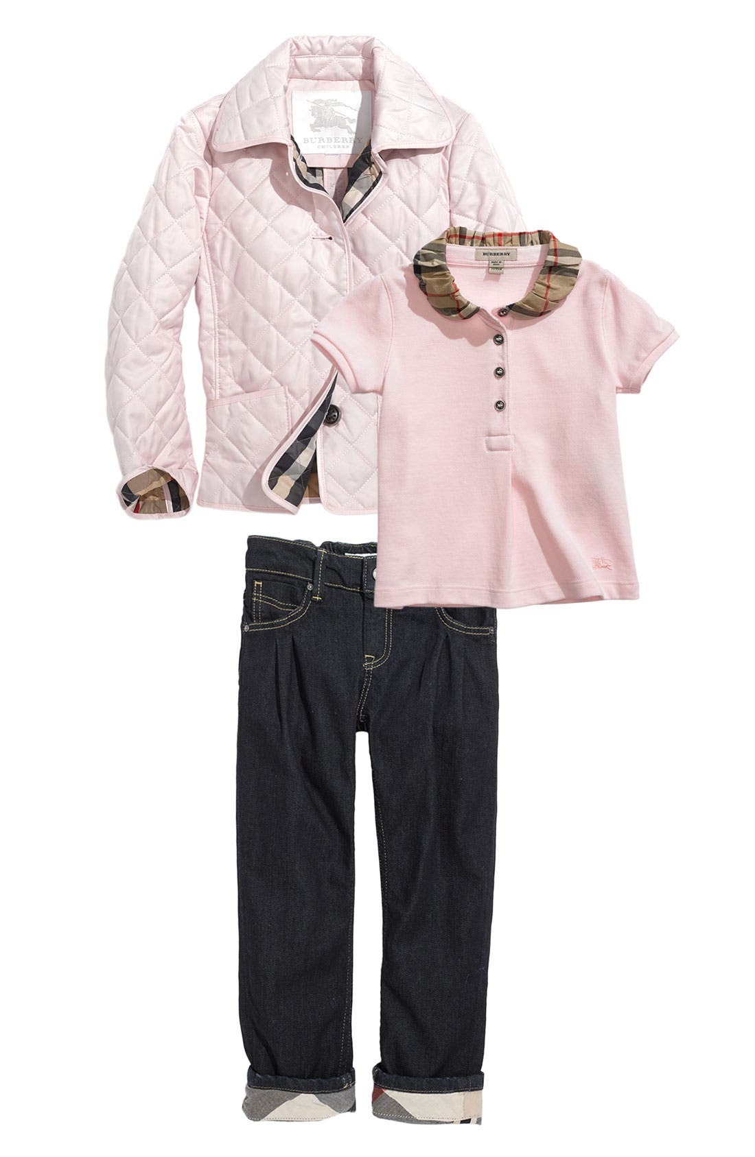 Alternate Image 2  - Burberry Check Collar Piqué Polo (Toddler)